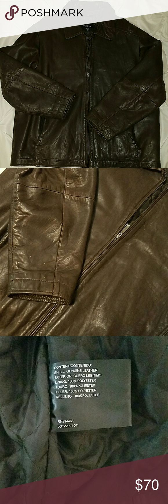 Lambskin leather jacket Gently used lambskin leather jacket. Stains on leather are pictured above. Color dark brown. Most offers accepted. Claiborne Jackets & Coats