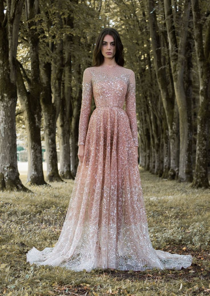 rose gold dragonfly gossamer wing inspired high neck long sleeved wedding dress by paolo sebastian