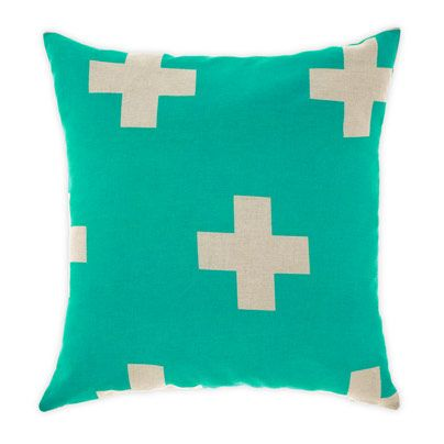 Crosses Cushion in Jade 50cm