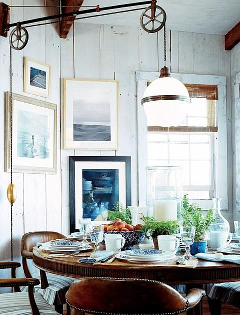 This Beautiful Blue White Dining Room Is The Perfect Place For A Cozy Breakfast Round Table W Formal Setting Pendant Light Makes