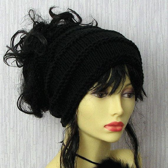 Tube hat dreads Black knitted dreadlock headband  by AlbadoFashion