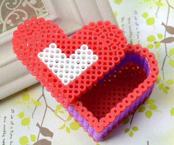 Perler Bead Red Heart Box - Fun Family Crafts