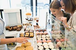 Mother and daughter choosing sweets in bakery