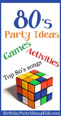 Fun 1980's theme Birthday Party Ideas for kids, tweens and teen parties.  80's party games, dances, playlist, activities and fun ideas for decorating, party food and more.  http://www.birthdaypartyideas4kids.com/1980-party.htm