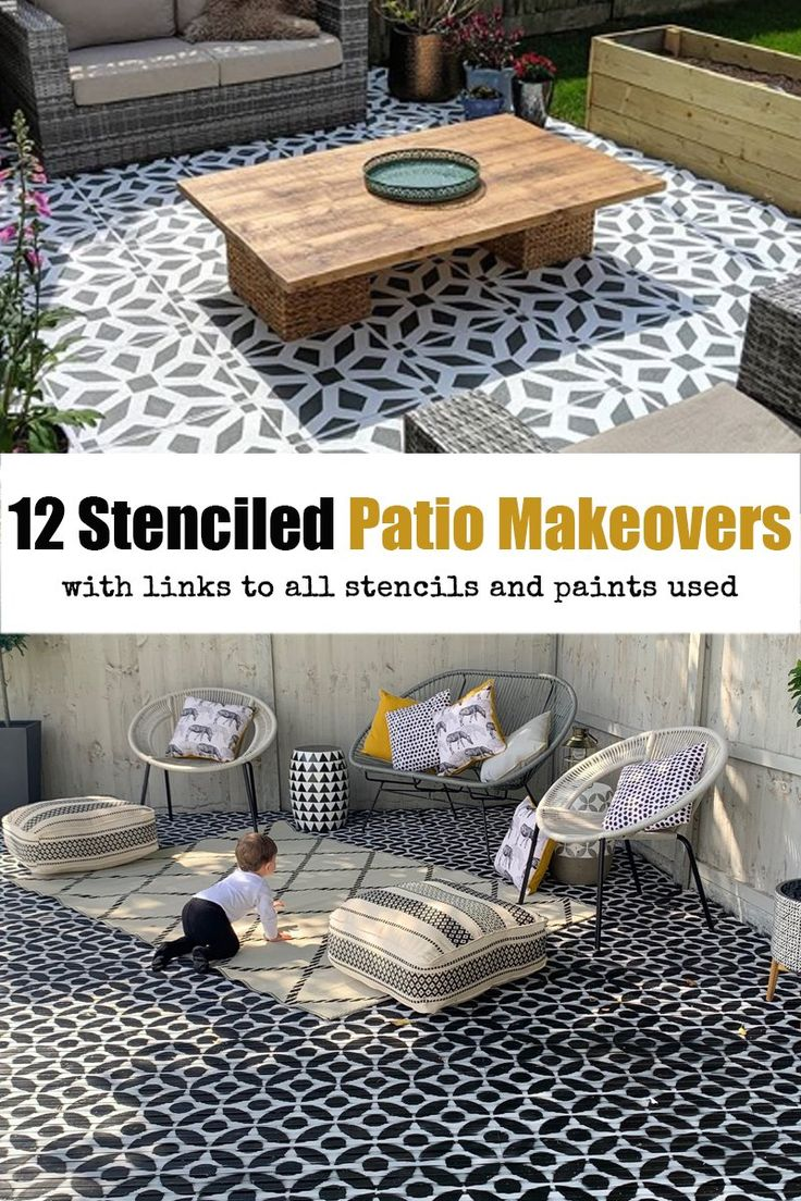 12 Amazing Stenciled Patio Makeovers!  Come and check out our blog showcasing the best 12 Stenciled Patio transformations of 2019.  It's amazing what a stencil and a little paint can do to a bland boring concrete floor!