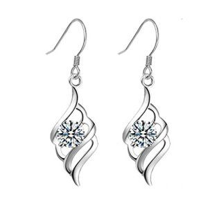 Cadeau d'été Femmes ailes d'ange Plaqué Argent Forme élément en cristal autrichien Boucles d'oreilles Femme Crochets Promotion par…