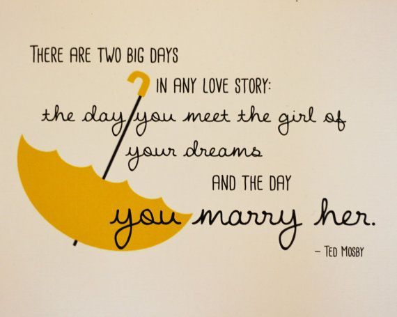 Yellow Umbrella Ted Mosby Quote (HIMYM), Unframed on Etsy, $9.99