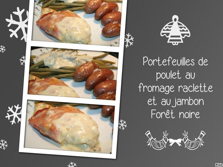 Portefeuilles de poulet au fromage raclette et au jambon Forêt noire