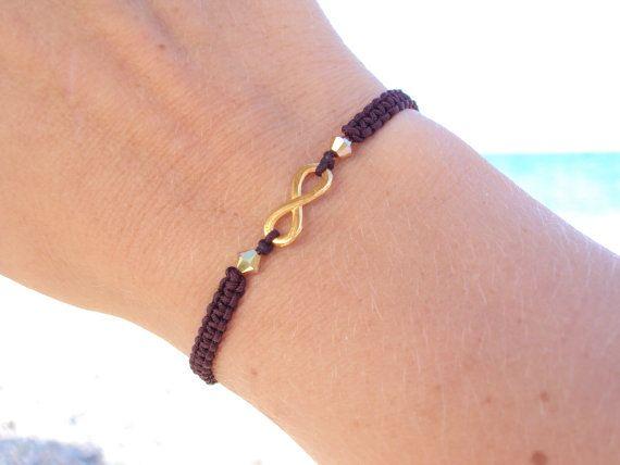 Golden eternity symbol macramé bracelet in dark brown with Swarovski crystals