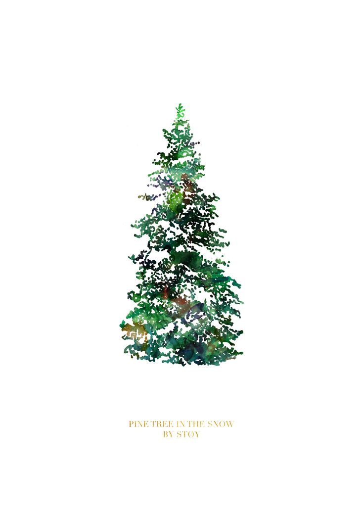 """""""Pine tree in the snow"""" A christmas/winter illustration by Nadia Støy"""