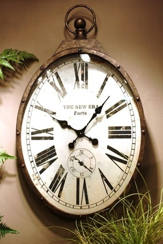 Warehouse Vintage Style Large Oval Shaped Pockech Wall Clock 37 For The Home Pinterest And Design
