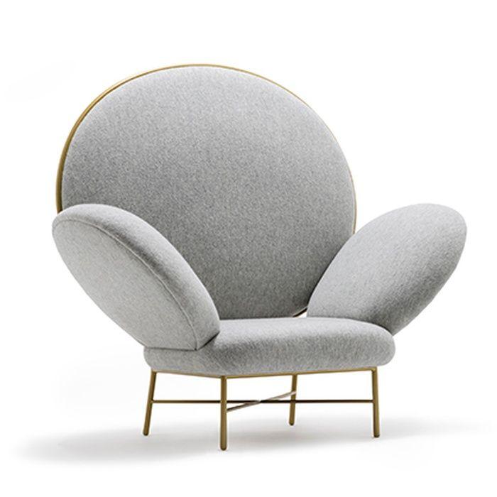 Modern shape grey chair design with brass details |www.bocadolobo.com/ #modernchairs #luxuryfurniture #chairsideas