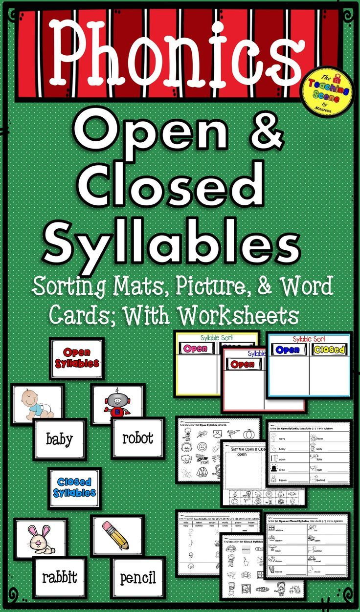 Open Closed Syllables Packet Picture Word Cards Sorting Mats Worksheets Word Cards Closed Syllables Syllable Open closed syllable worksheets