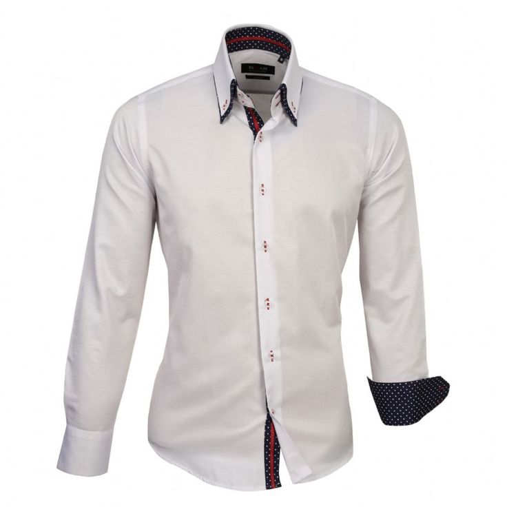 Shop online from our beautifully tailored Farrabi shirts. Button down – Polka Under Collar Slim Fit Formal Double collar dress shirt White/Navy. Check out other polka shirts!