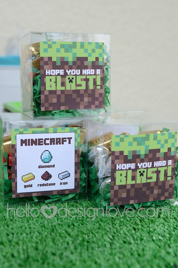 Minecraft Birthday Party Candy Party Favors     hellodesignlove.com