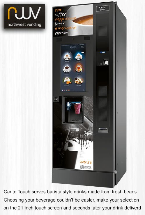 The New Canto Touch in black, looks great, serves barista quality coffee drinks and fresh leaf tea. Cup sizes range from 7oz to 12oz  plastic or paper. #canto-touch-black, #north-west-vending, #barista, #vending
