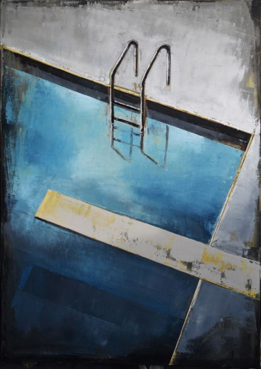 """Buy Painting swimming pool, blue and brown, modern, original, large canvas art 39.37/27.5(100/70cm). """"Pool 69""""., Oil painting by Karina Antończak on Artfinder. Discover thousands of other original paintings, prints, sculptures and photography from independent artists."""