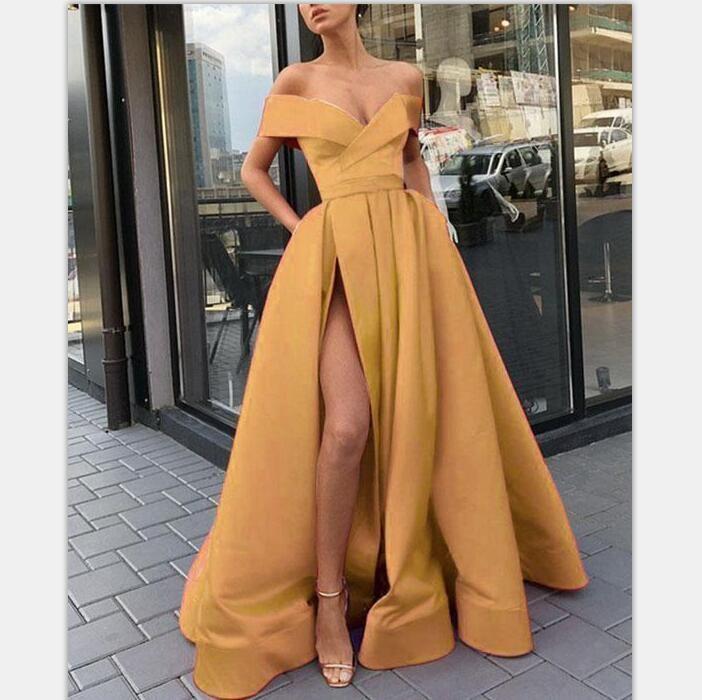 A-Line Elegante Gold Lange Frauen Formale Abendkleider, Abendkleider mit Split, … – Kleid Designs
