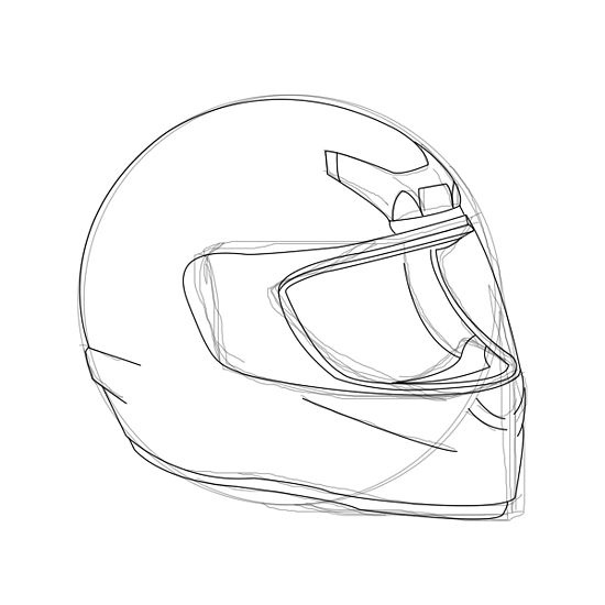 How To Draw A Motorcycle Helmet 6 Steps With Pictures