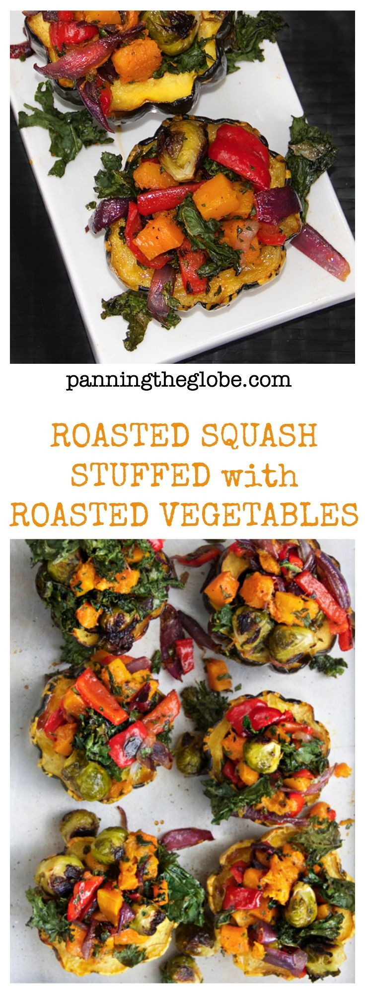 Roasted Squash stuffed with Roasted Vegetables: stellar side dish! or vegetarian main dish.