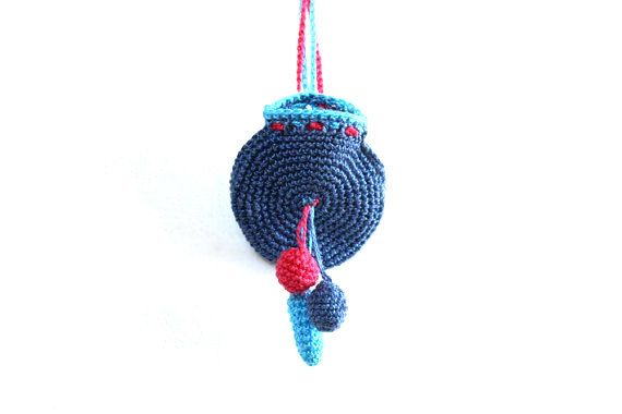 Crochet Drawstring Yoga Jewelry Holder,blue drawstring pouch, hanging ...