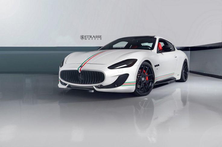 Custom Maserati GranTurismo S caught wearing Satin Black Strasse wheels.