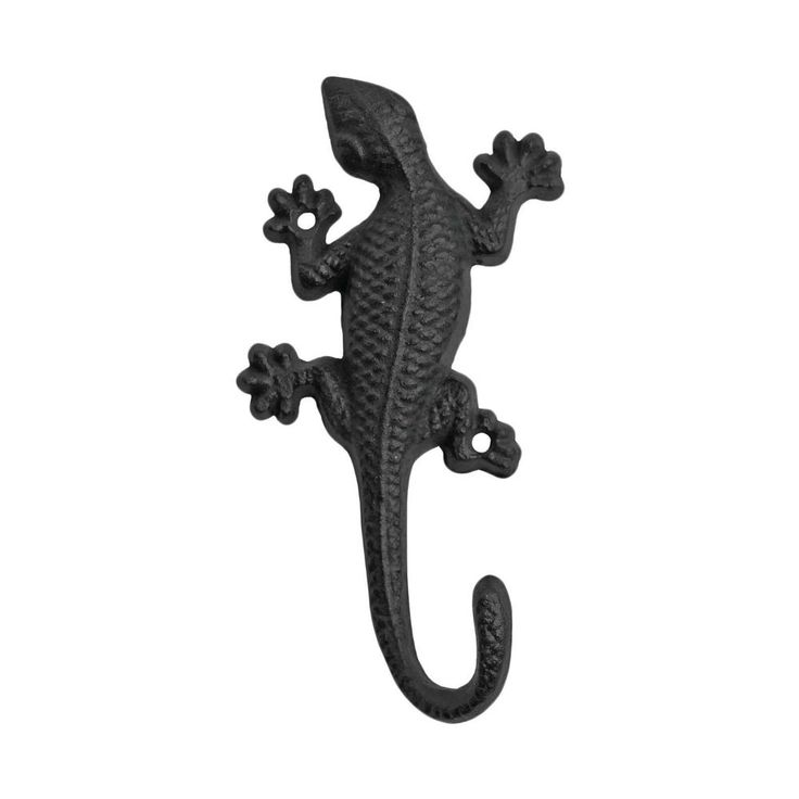 Black Cast Iron Coat Hook Wall Mountable Gecko Lizard Garden Home Accessory