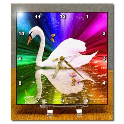 dc_6557_1 SmudgeArt Bird Artwork Designs - Rainbow Swan - Photography Bird Art - Desk Clocks - 6x6 Desk Clock 3dRose http://www.amazon.com/dp/B0046DOBRA/ref=cm_sw_r_pi_dp_tVQbwb1WPXRKS