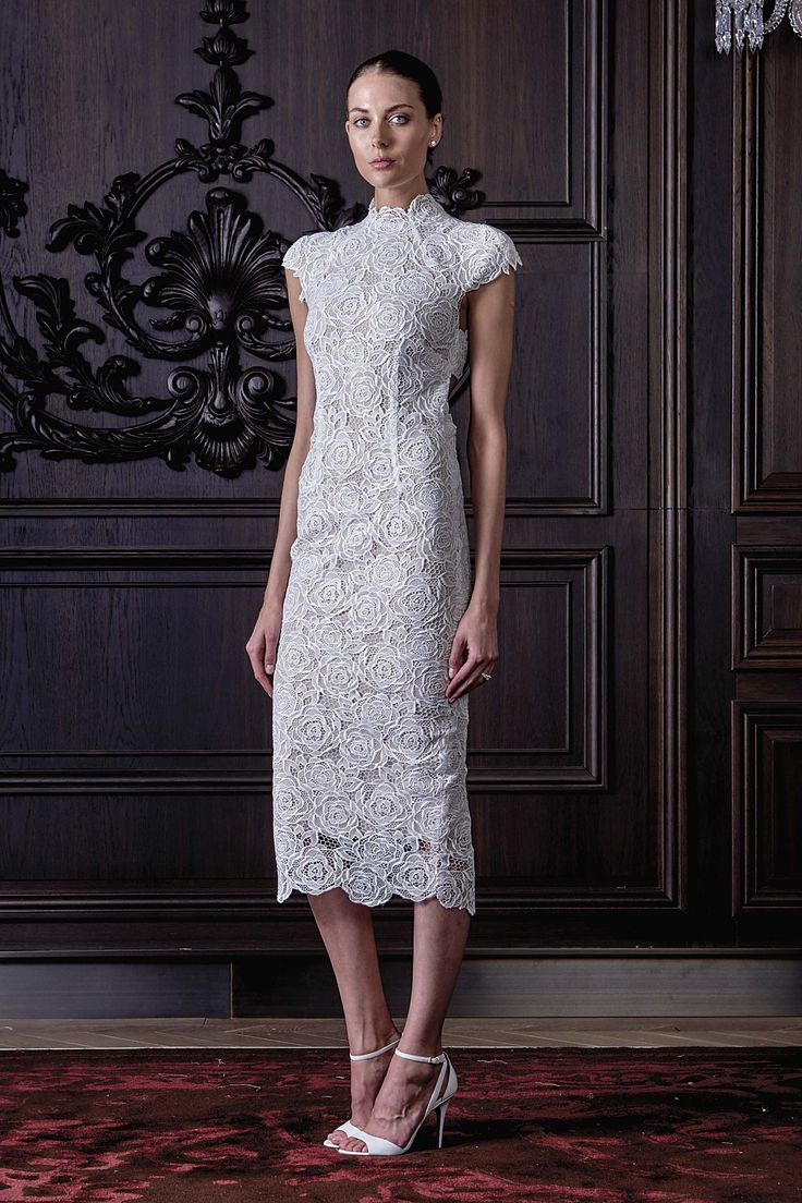 Wedding Dresses by Monique Lhuillier (BORDEAUX), collection spring , silhouette straight cut, neckline other, long