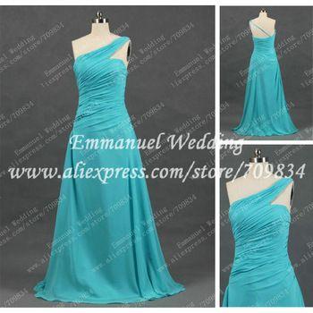 lange plooi een schouder chiffon turquoise bruidsmeisje jurk echte monster re274