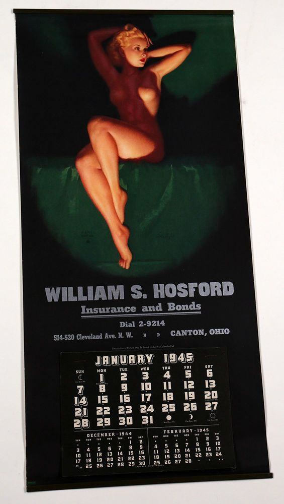 1945 Brown & Bigelow Pin-Up Calendar Advertising Art Deco Nude Blonde Earl Moran