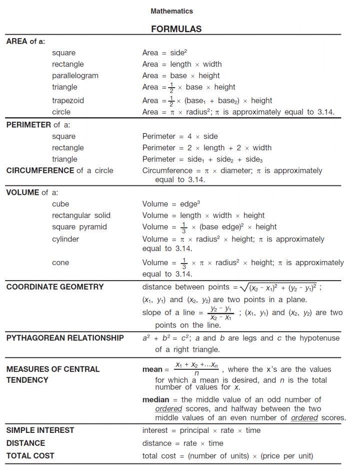 12 Math Formula Worksheet Ged Math College Math Math Formula Sheet