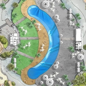 Webber Wave Pools has recently introduced a new wave pool design to the world of surf parks and artificial wave technology. Their latest design is a crescent shaped wave pool that is capable of producing world class waves at a fraction of the cost of the full size circular wave pools. The quality