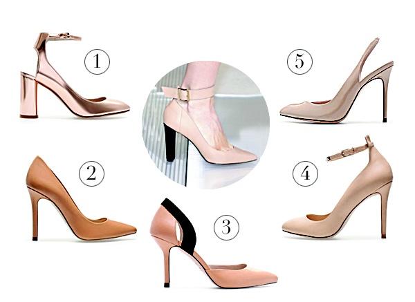 Los zapatos tipos salón son elegantes y cómodos. 1. Sandalia laminada. $139, 2. Zapatos salón piel. $99.95, 3. Pala talón altura media. $99.95, 4. Salón pulsera tachas. $85 y Destalonado charol con punta. $79.95. Todos de Zara, Galerías, tel. 2245-0960.