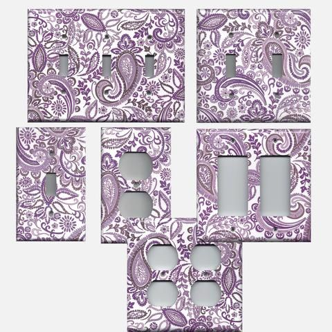 Lavender Violet Purple Mosaic Paisley Light Switch Plates & Wall Outlet Covers; Bedroom Decor, Bathroom Decor, Living Room Decor, Dining Room Decor, Hand Made Home Decor