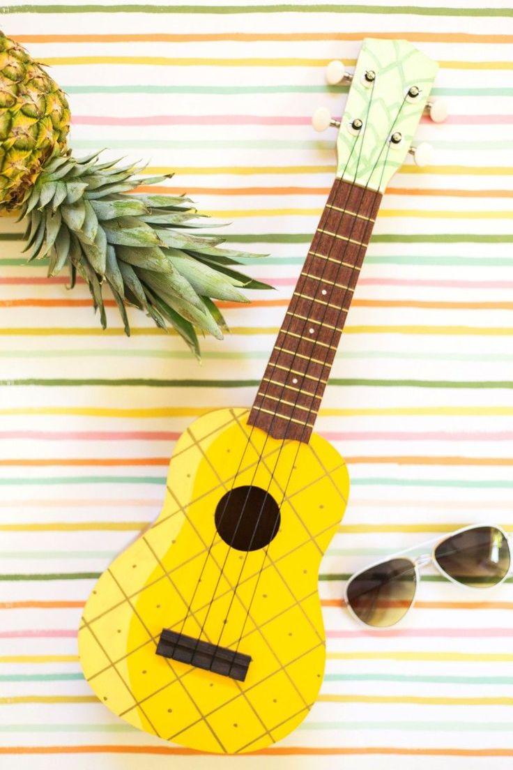 DIY Painted Pineapple Ukulele. How cute is this!?