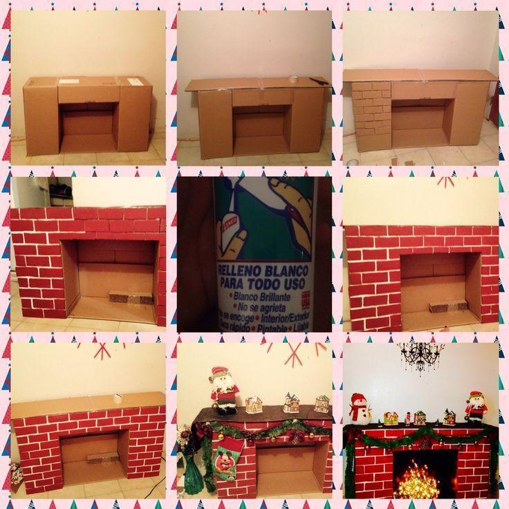 Lareira Decorativa Para O Natal Feita Com Caixas De