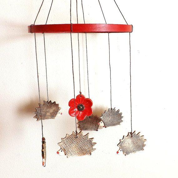 Poppy Hedgehog Porcelain Mobile Windchimes By