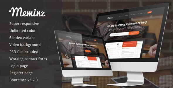 ThemeForest - Meminz Download Software Landing Page Free Download