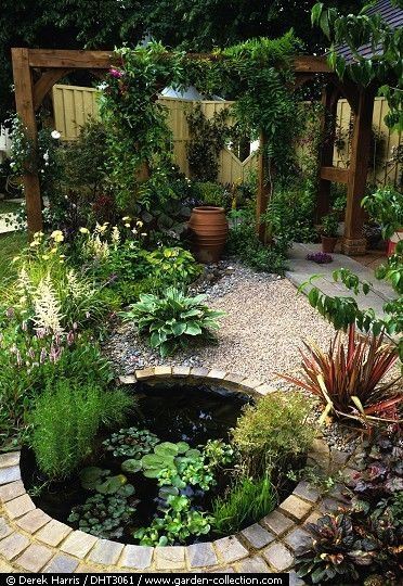 Small yard design with pergola, water feature