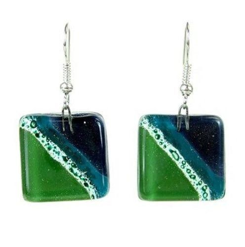 Add an elegant touch to your wardrobe with handmade jewelry from Chile. These sparkling multicolor earrings feature squares of shimmering...