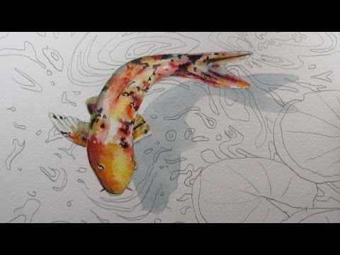 Follow this art video tutorial step by step to learn one way to draw a Koi Carp Fish from the first pencil drawing to the final watercolour detail. I hope yo...