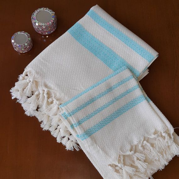 Check out this item in my Etsy shop https://www.etsy.com/listing/474194657/turquoise-striped-towel-set-decorative