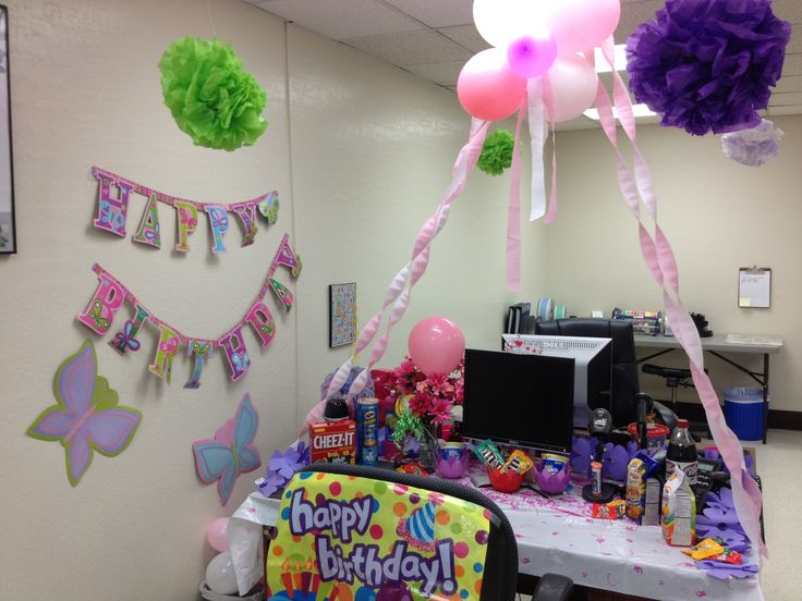 Flower Garden Birthday Theme For Coworkers Birthday · Office Birthday  DecorationsCubicle ...