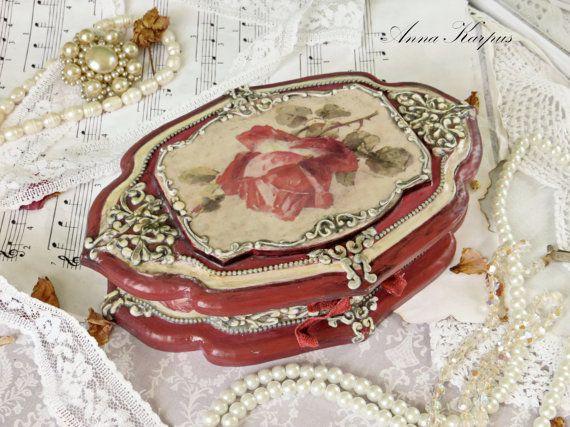 Wooden Jewelry Box Romantic decoupage box by AnnaBoutiqueStore