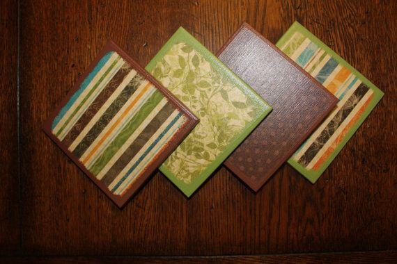 Colorful Ceramic Tile Coasters  Green Yellow Orange by CrafTeaCafe,