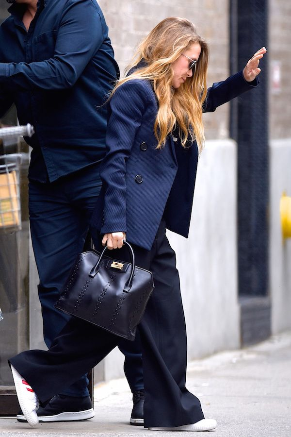 Olsens Anonymous Blog Mary Kate Olsen Twins Style Navy Black Business Casual Navy Blazer Leather Bag Wide Leg Pants Sneakers Way Hair Aviator Sunglasses