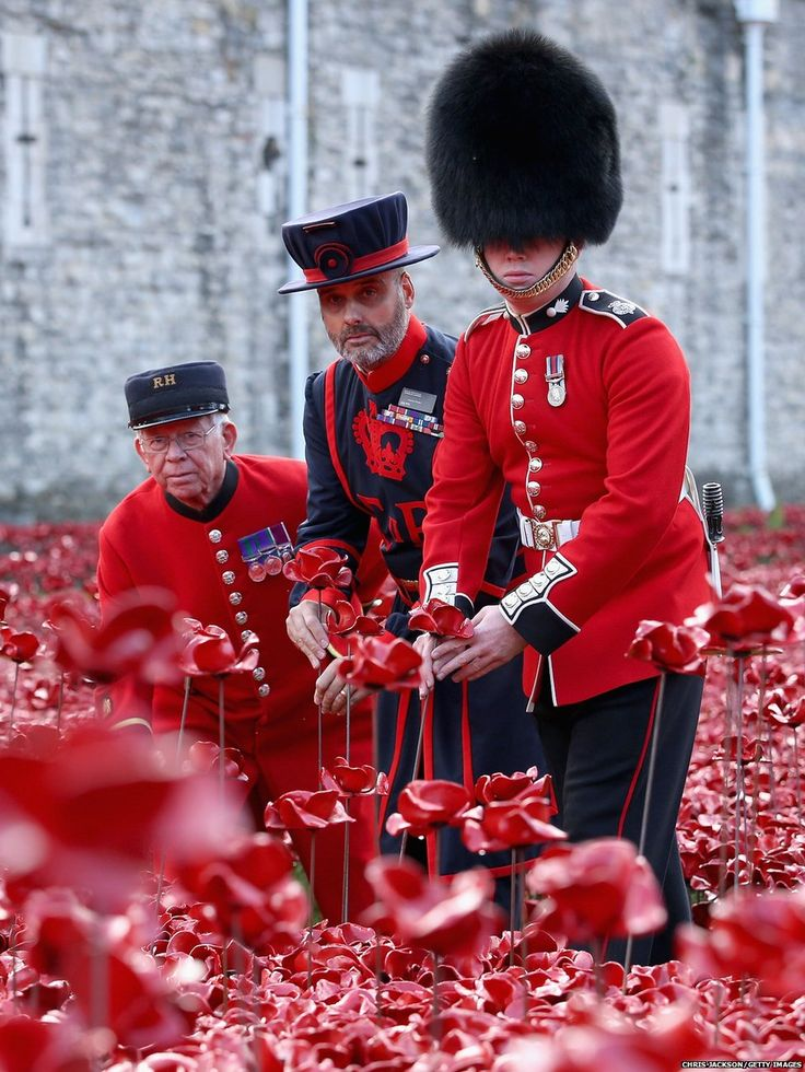 L-R Chelsea Pensioner, Yeoman of the Guard and Grenadier Guard amongst the poppy installation at the Tower of London commemorating the fallen of WWI