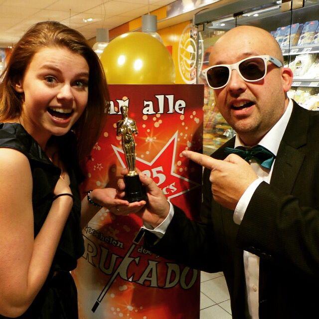 Samen met Britt Scholte (Anouk in de serie Brugklas) ivm opname commercial.
