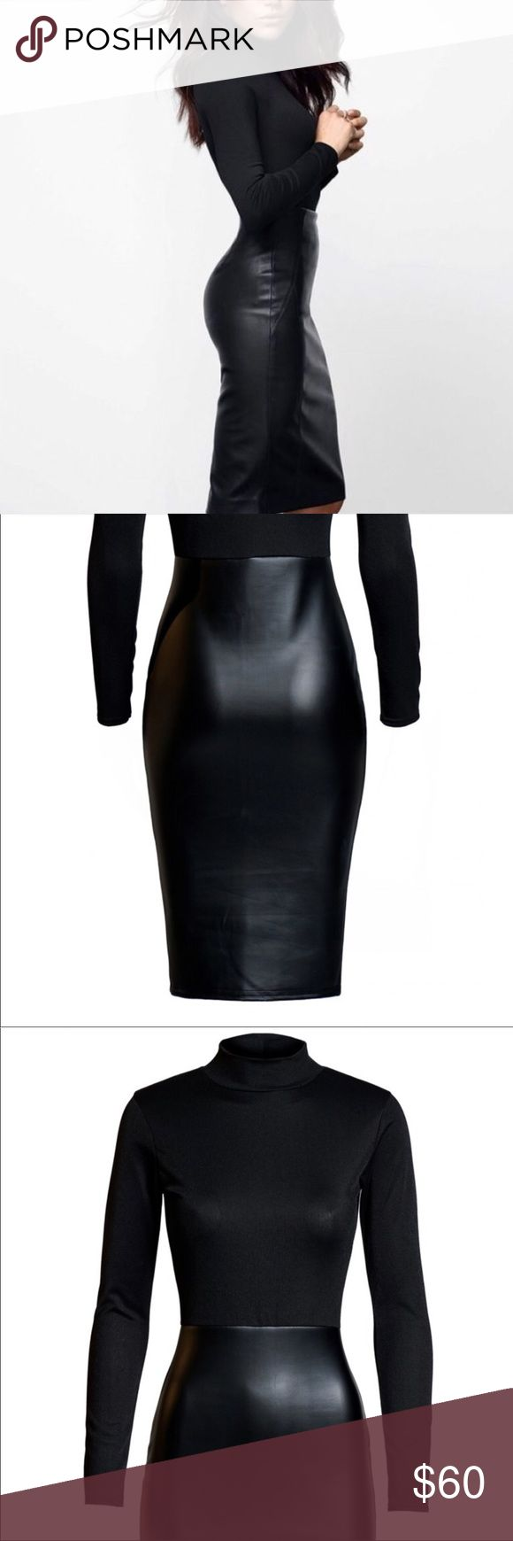 """🌹JUST IN! Gorgeous Leatherette Bottom Dress This gorgeous dress features a high neck top and leatherette bottom, perfect for party or formal wear, it is approximately 41"""", constructed of 95% polyester/5% elastane, sizes are true to size.  Note - this garment was manufactured in the UK, for this reason the tag on the garment is the UK size, I have already converted the sizes to US which are true to size 6, 8, 10, 12 Dresses Midi"""